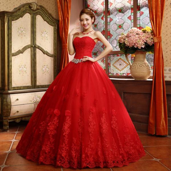 свадьба в красном платье